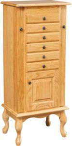 48 inch Winged Queen Anne Jewelry Armoire