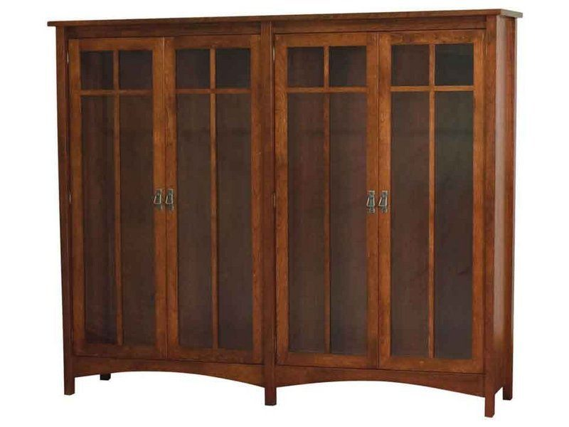 Arts and Crafts Double Bookcase with Doors
