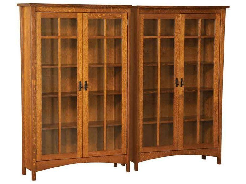 Arts And Crafts Double Bookcase With Four Doors Amish