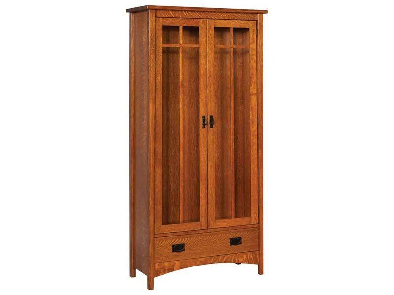 Arts and Crafts Two Door Bookcase with Drawer