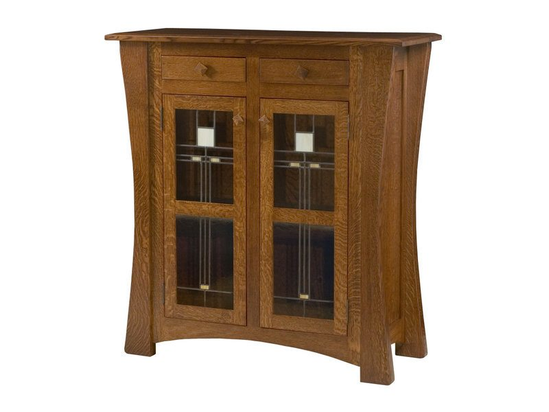 Arts and Crafts Two Door Cabinet with Glass Panels