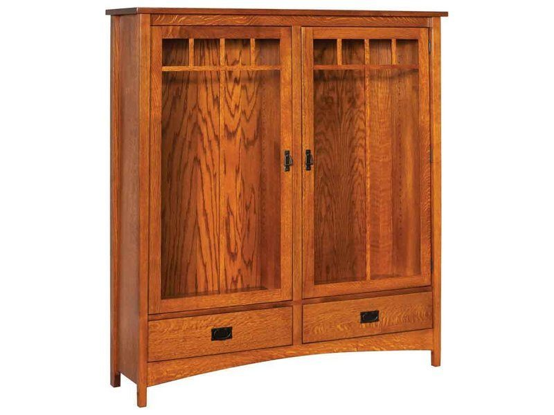 Arts and Crafts Wide Two Door Bookcase