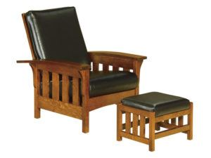 Bow Arm Slat Morris Chair and Footstool