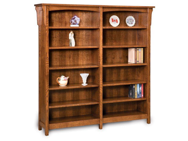 Bridger Mission 10 Shelf Double Bookcase