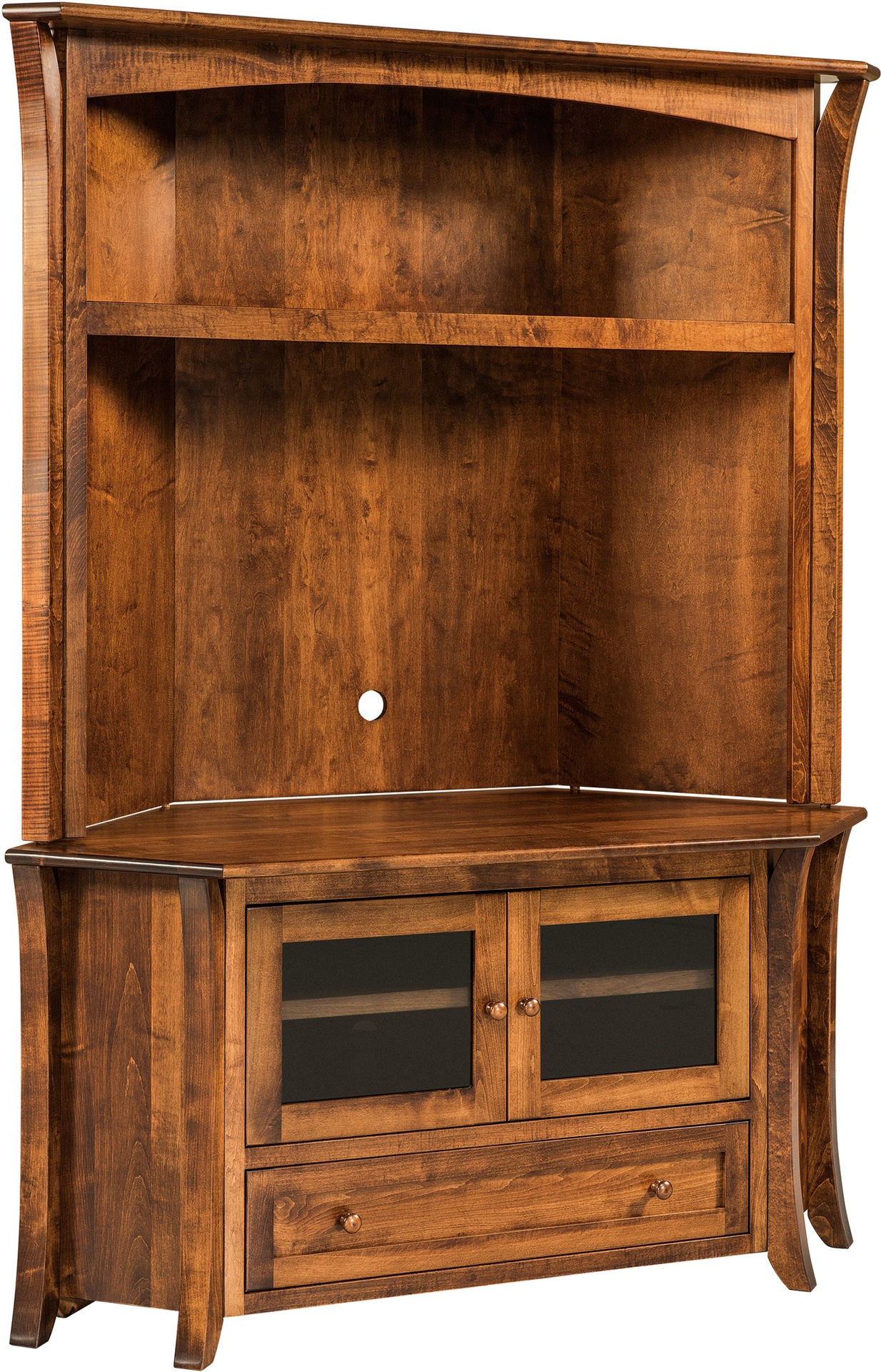 Caledonia TV Corner Cabinet with Hutch Top