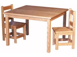 Child's Table Set with Two Small Square Chairs