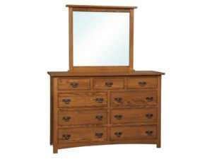 Classic Mission Nine Drawer Dresser with Mirror