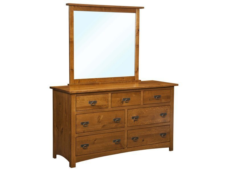 Classic Mission Seven Drawer Dresser with Mirror