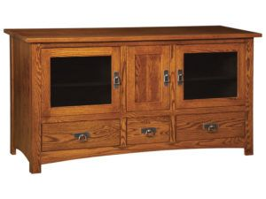 Classic Mission Three Door, Three Drawer Plasma Stand
