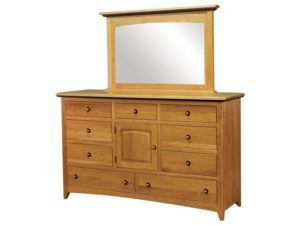 Classic Shaker Nine Drawer, One Door Dresser with Mirror