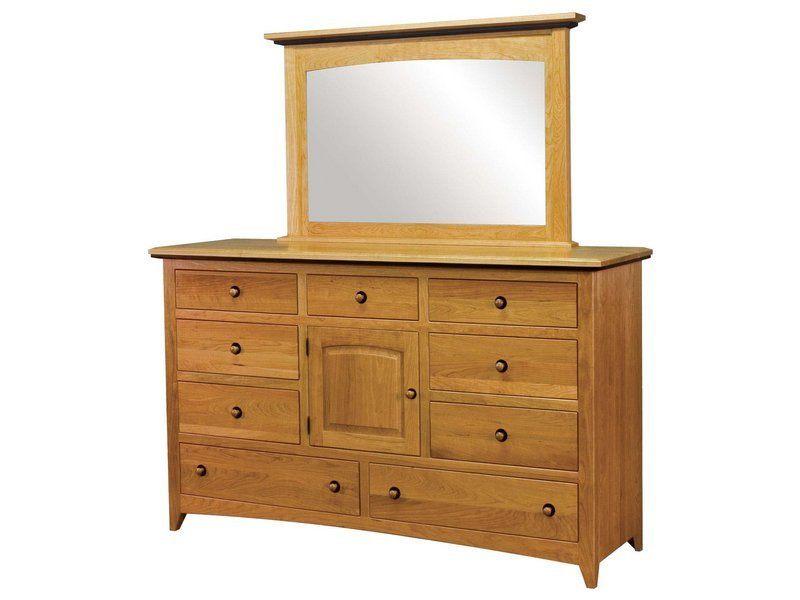 Classic Shaker Nine Drawer, One Door Dresser with Mirror