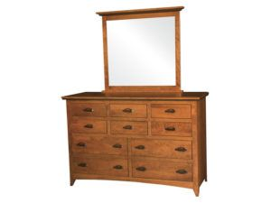 Classic Shaker Ten Drawer Dresser with Mirror