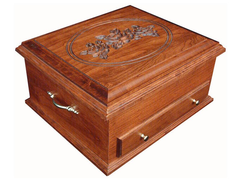 Deluxe Cherry Jewelry Chest with Rose Engraving