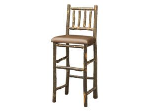 Early American Hickory Bar Stool with Leather Seat