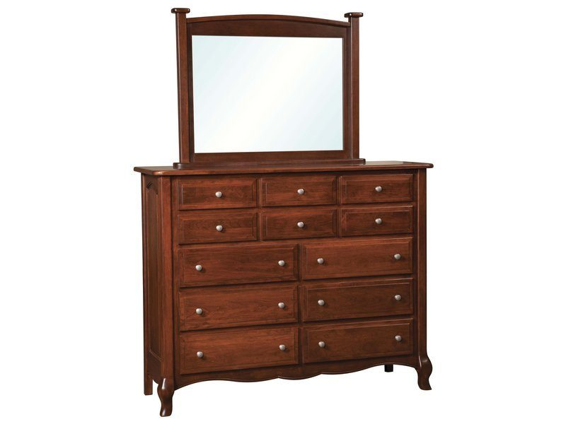 French Country Twelve Drawer Dresser with Mirror