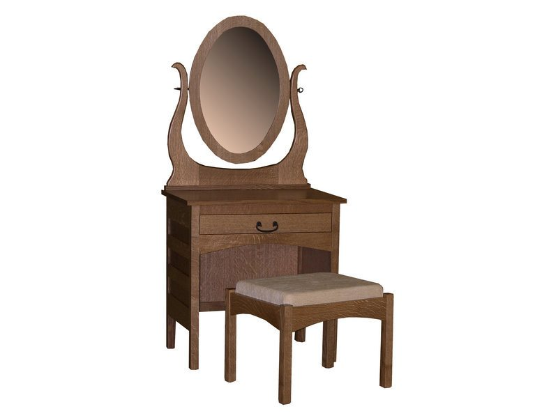 Granny Mission Dressing Table, Mirror and Bench
