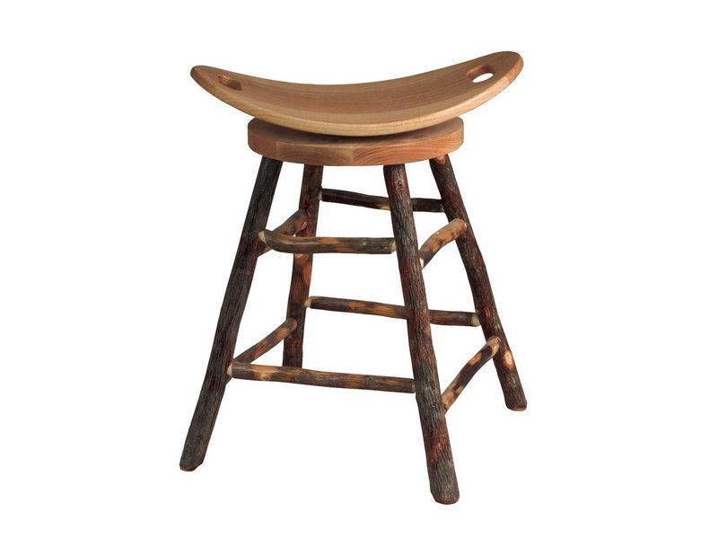 Amish Hickory Bar Stool With Swivel Saddle Seat