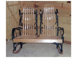 Hickory Double Rocker with Oak Back and Seat