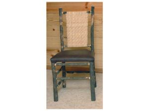 Hickory Game Table Chair with Leather Seat and Cane Back