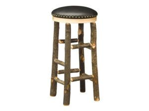 Hickory Hoosier Bar Stool with Leather Seat