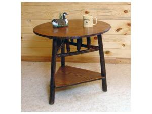 Hickory Round End Table with Triangle Shelf