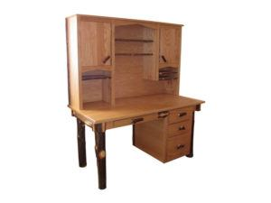 Hickory Secretary Desk with Hutch