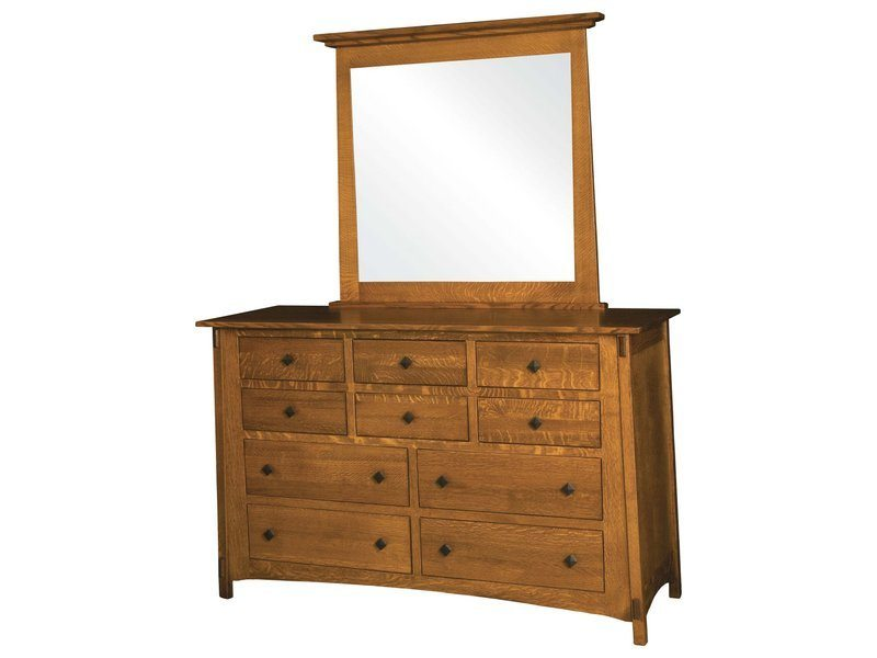 Amish Mccoy Ten Drawer Dresser With Mirror Customizable