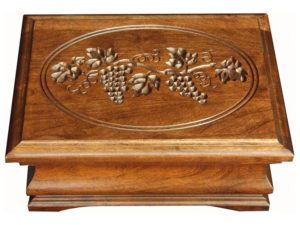 Medium Cherry Jewelry Box with Grapes Engraving