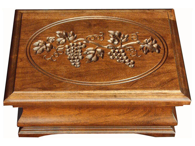 Medium Cherry Jewelry Box with Grapes Engraving
