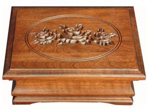 Medium Cherry Jewelry Box with Rose Engraving