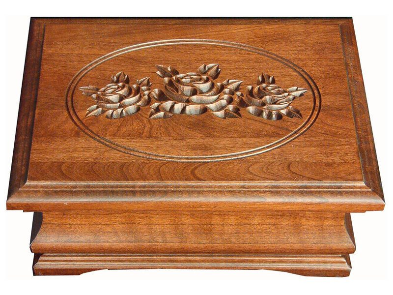 Medium Cherry Jewelry Box with Rose Engraving