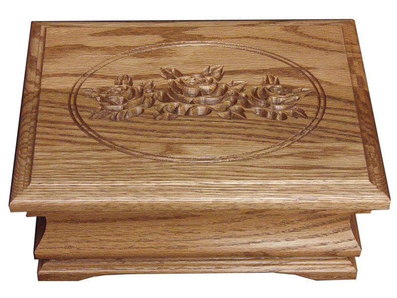Medium Jewelry Box with Rose Engraving