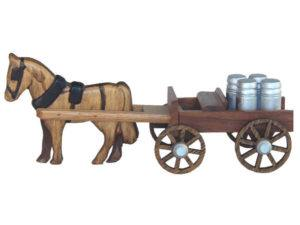 Mini Walnut Open Buggy with Milk Cans