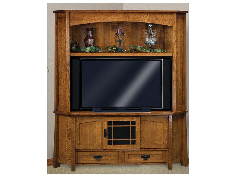 Amish Modesto Three Door, Two Drawer, Two Piece Corner LCD Hutch