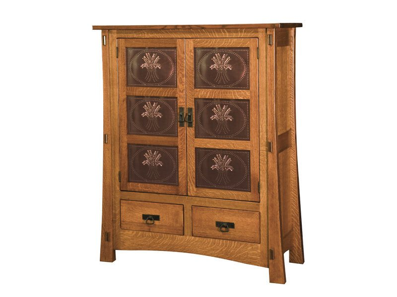 Amish Modesto Two Door Cabinet with Copper Panels