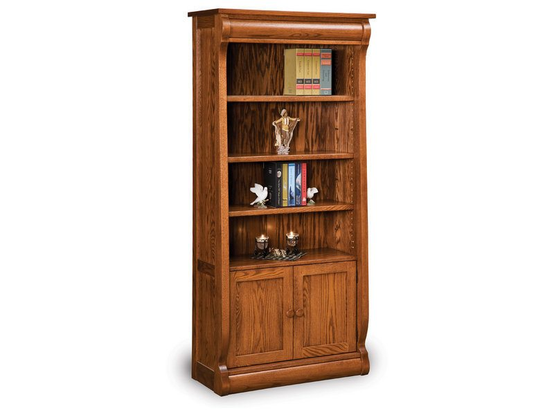 Old Classic Sleigh Four Shelf, Two Door Bookcase