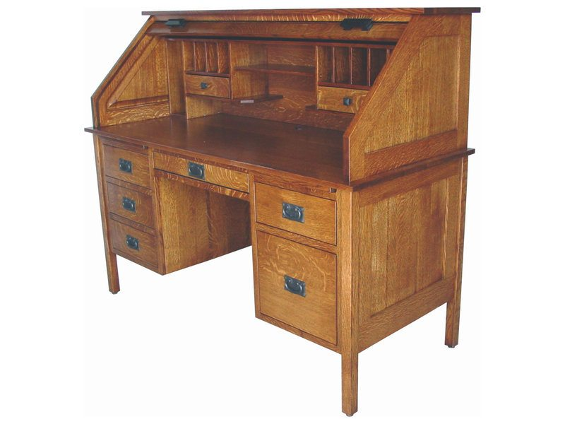 Amish Post Mission Roll Top Desk (open)