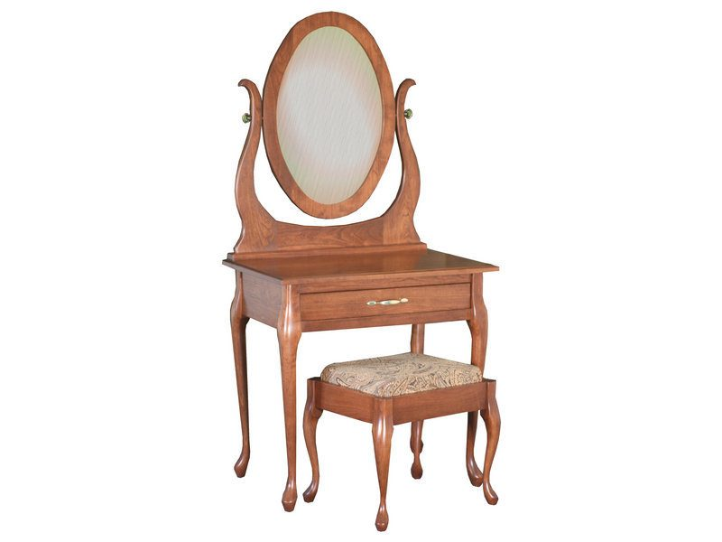 Queen Anne Dressing Table and Mirror with Bench