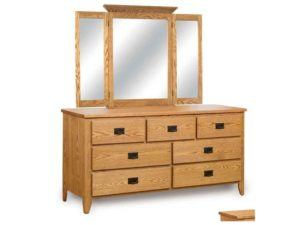Ridgecrest Mission Seven Drawer Dresser with Tri-Fold Mirror