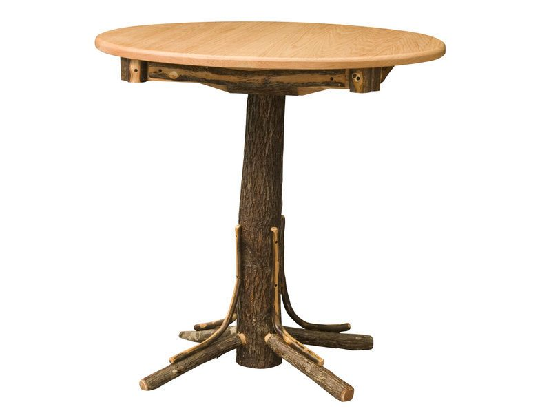 Round Hickory Pub Table with Square Skirting