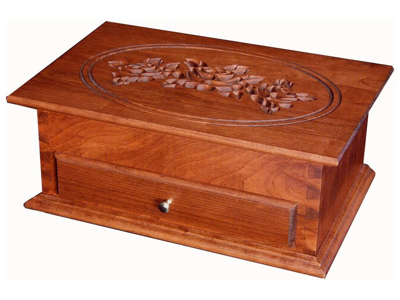 Standard Cherry Jewelry Chest with Rose Engraving