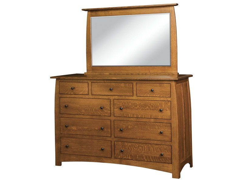 Superior Shaker Nine Drawer Dresser with Mirror