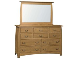 Superior Shaker Ten Drawer Dresser with Mirror