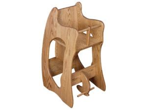 Three-In-One Oak Highchair, Rocker, and Desk