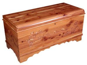 Waterfall Chest with Carving-God Bless Our Home