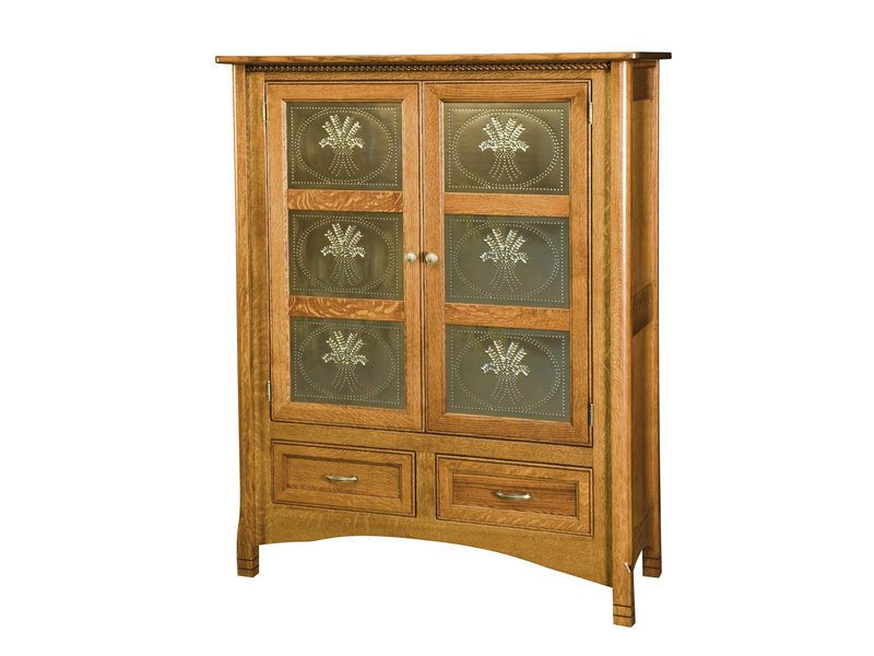 Amish West Lake Two Door Cabinet With Brushed Nickel Panels