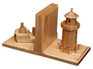 Wooden Boat-Lighthouse Bookends