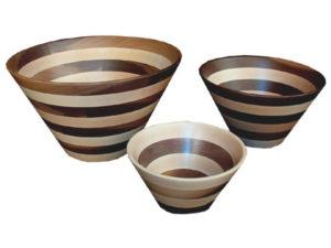 Wooden Bowls (Striped) Small, Medium and Large