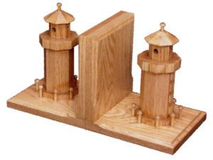 Wooden Lighthouse Bookends