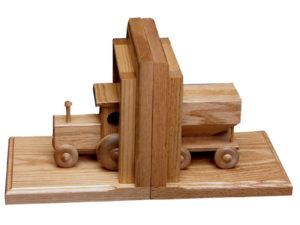 Wooden Tractor-Wagon Bookends
